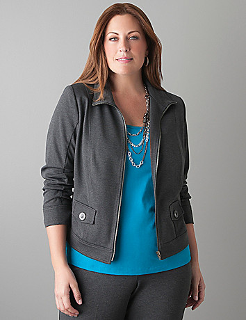 Ponte knit jacket by Lane Bryant