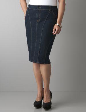 Seamed denim pencil skirt