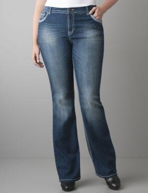 White stitch slim boot jean