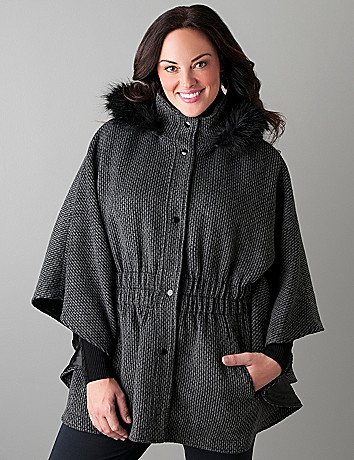 Cinched cape with hood by Lane Bryant