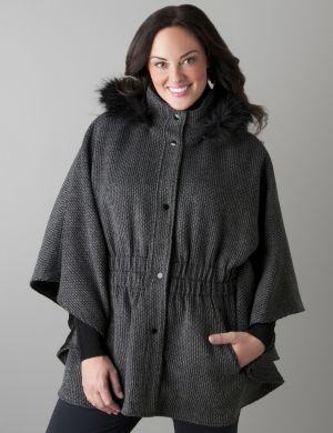 Cinched cape with hood