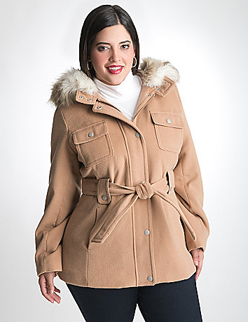Trench Coat with Removable Hood by Lane Bryant