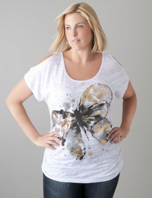 Cold shoulder butterfly tee