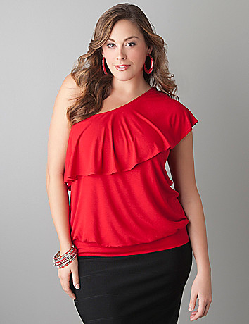 One shoulder ruffle top by Lane Bryant