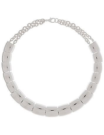 Silvertone blocks collar necklace by Lane Bryant