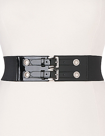 Double buckle stretch belt by Lane Bryant