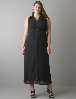 Chiffon maxi shirt dress