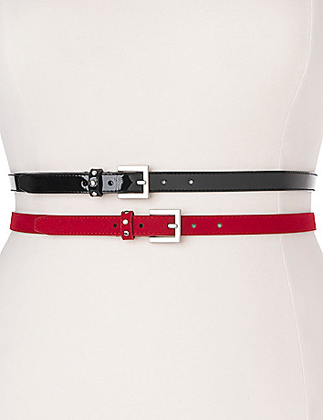 Patent & suede skinny belt duo by Lane Bryant