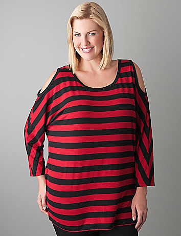 Plus Size Cold Shoulder Long Sleeve Tee by Seven7