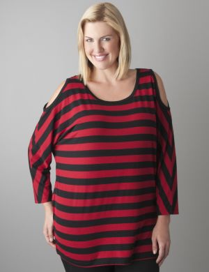Cold shoulder striped top by Seven7