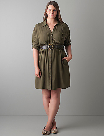 Shirt dress with belt by Lane Bryant