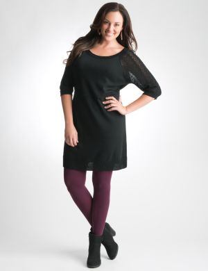 Pointelle sleeve sweater dress