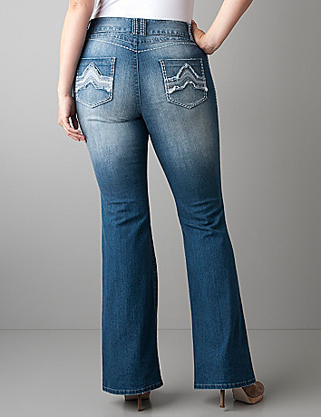 Frayed pocket flare jean by Lane Bryant