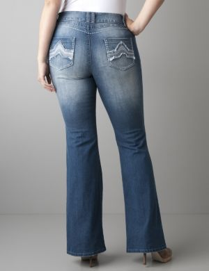 Frayed pocket flare jean