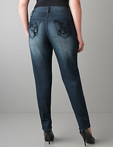 Velvet scroll skinny jean by Lane Bryant