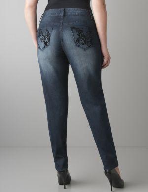Velvet scroll skinny jean
