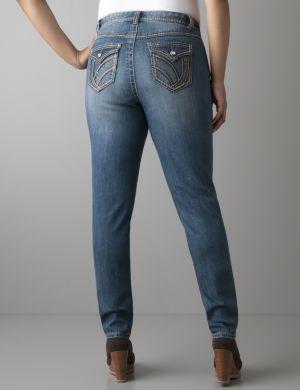 Leather trim skinny jean