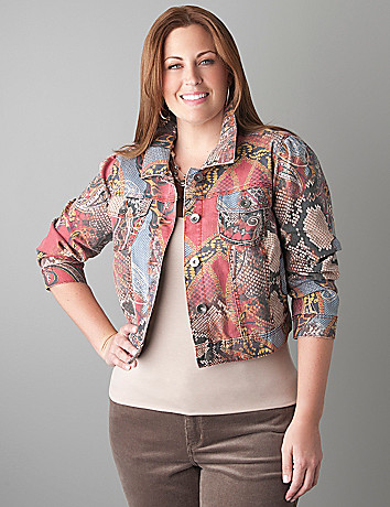 Plus Size Print Denim Jacket by Lane Bryant