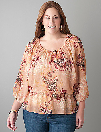 Plus Size Paisley Dolman Blouse by Lane Bryant