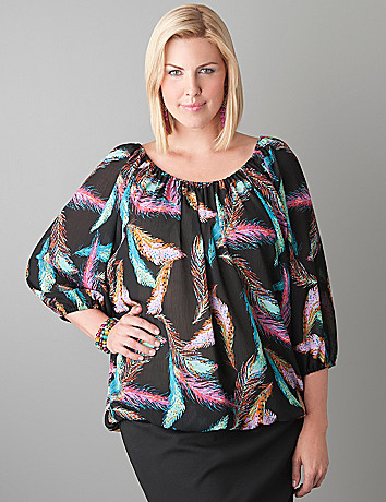 Plus Size Feather Print Top by Lane Bryant