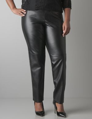 Faux leather front legging