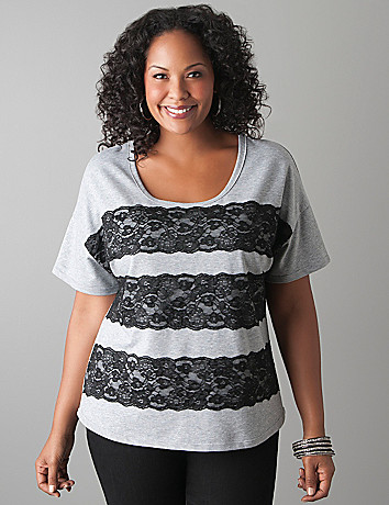 Plus Size Lace Striped Tee Shirt