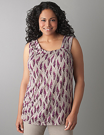 Feather Print Pleated Tank by Lane Bryant
