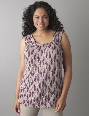 Feather print pleated tank