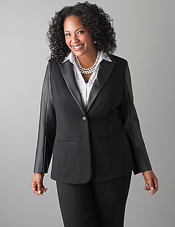 Plus Size Pleather Ponte Blazer by Lane Bryant