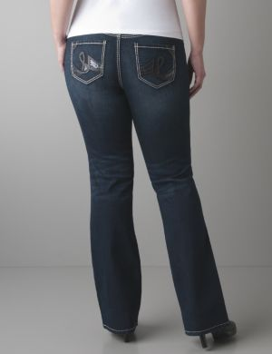 Slim boot jean with pleather trim