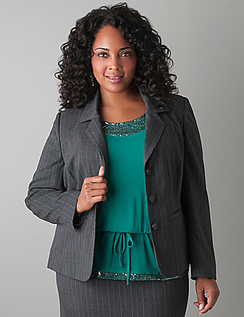 Plus Size Subtle Stripe Suit Jacket by Lane Bryant