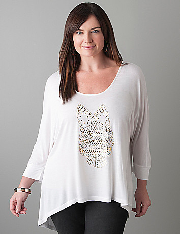 Plus Size Studded Owl Top by Seven7