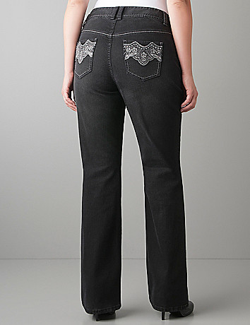 Embroidered slim flare jean by Lane Bryant