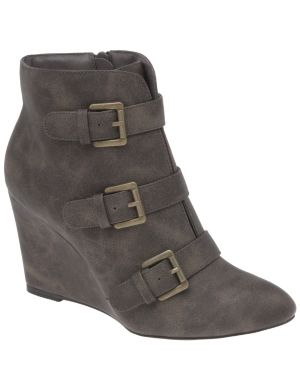 Buckled wedge ankle boot