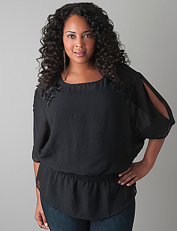 Beaded dolman blouse by Lane Bryant