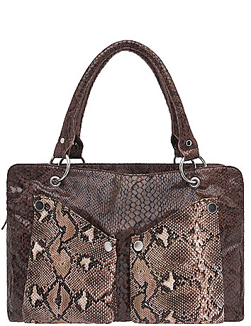 Colorblock snakeskin satchel by Lane Bryant