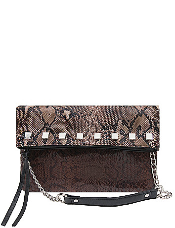 Two tone snakeskin clutch by Lane Bryant