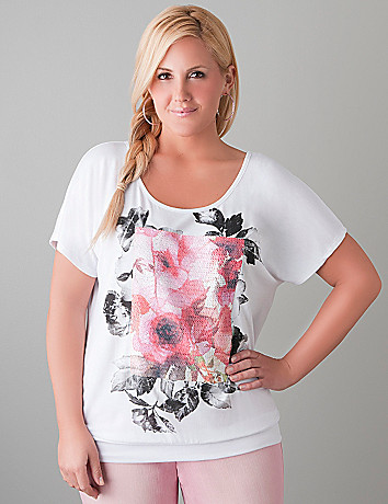 Banded bottom sequin tee by Lane Bryant