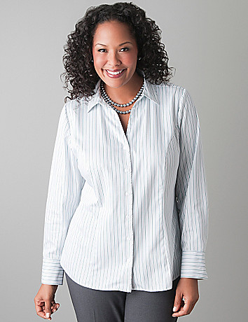 Striped cotton sateen shirt by Lane Bryant