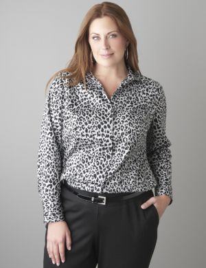 Animal print cotton sateen shirt