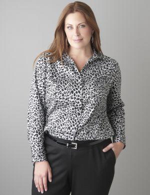 Animal print cotton sateen shirt
