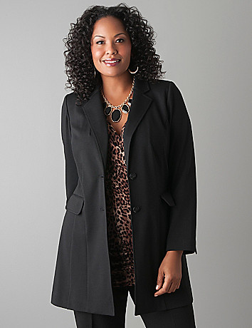 Plus Size Fingertip Ponte Blazer by Lane Bryant