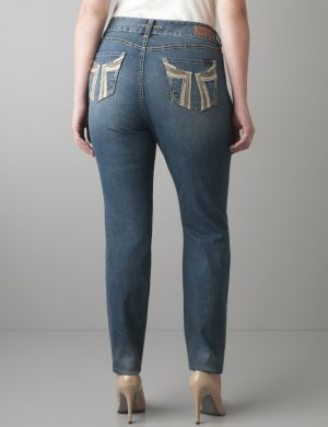 Leather accent skinny jean by Seven7