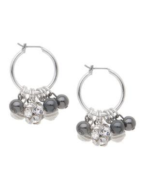 Cluster bead mini hoop earrings by Lane Bryant