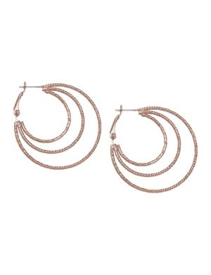 Chocolate triple hoop earrings by Lane Bryant