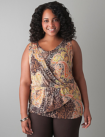 Wrap front paisley tank by Lane Bryant