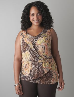 Wrap front paisley tank
