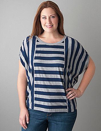 Double stripe dolman tee by Lane Bryant