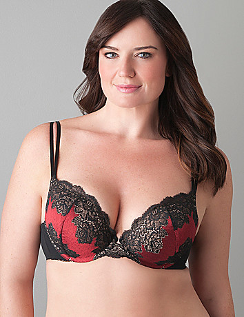 Contrast lace plunge bra by Cacique