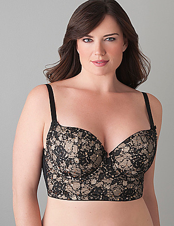 Sequin & lace longline bra by Cacique